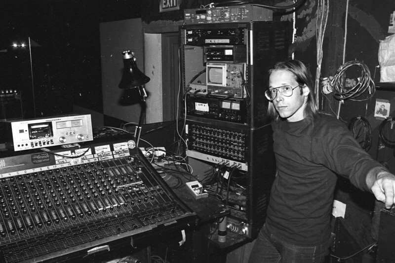 Bob McCarthy and the Berkeley Square sound booth circa 1981. Bi-Amp 16 channel console, Lexicon Prime Time, Onkyo and Aiwa cassette decks.