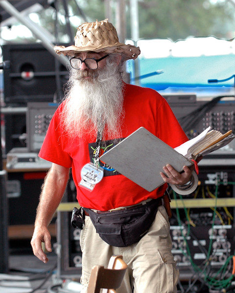 """Dave """"Pops"""" Andrews of Andrews Audio on Stage 1 at the New Orleans Jazz & Heritage Festival in 2006."""