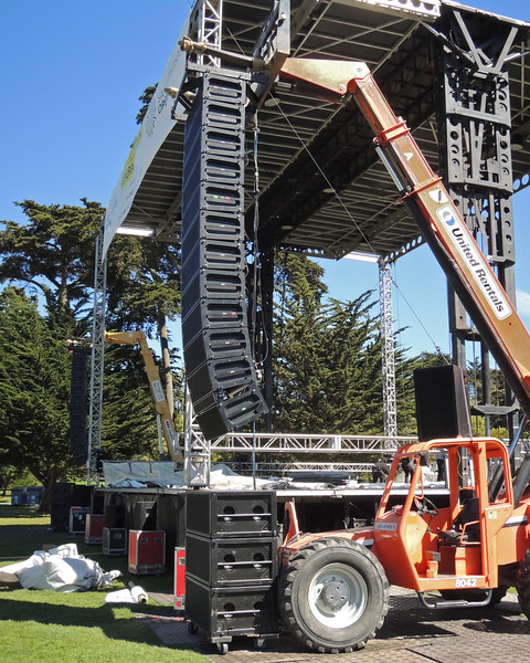 S.F. OPERA IN THE PARK:  Pro Media in El Sobrante, CA supplied P.A. for show in Golden Gate Park on September 9, 2012: Meyer Sound Milo line array (12 per side) with  three M3D cabinets stacked below. Meyer MSL-4 perched on forklift cab roof for outfill.  Center fill consisted of Meyer UPA's and  QC's on cases in the pit.
