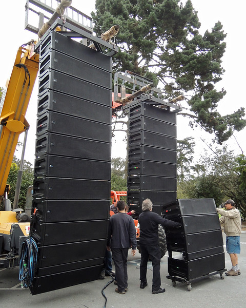 SAN FRANCISCO OPERA IN THE PARK: Sharon Meadows, Golden Gate Park.  Meyer Sound Milo line arrays from Pro Media are assembled on forkifts.