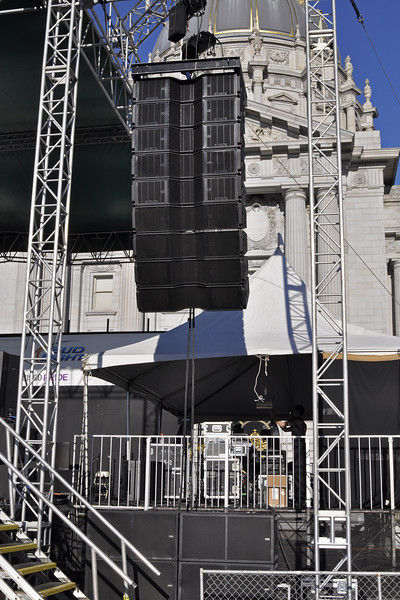 "San Francisco Pride 2012: Spider Ranch Productions provided McCauley Monarch line array with dual 18"" subs stacked in the pit. s"