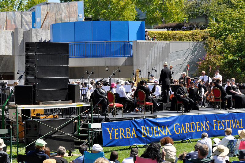 SAN FRANCISCO OPERA IN THE PARK: Yerba Buena Gardens, July 7, 2012.  A Pro Media system consisting of Meyer Milo cabinets stacked 5 per side, with 2 Meyer M3D's stacked underneath. Meyer CQ's used for outfill and centerfill.