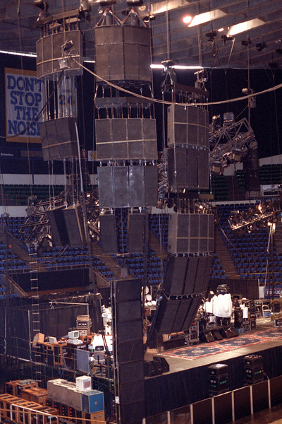 Meyer MSL-3 and MSL-10 arrays from Ultra Sound at the Oakland Coliseum for the Grateful Dead, circa 1989. Meyer 650 subs stacked on floor.