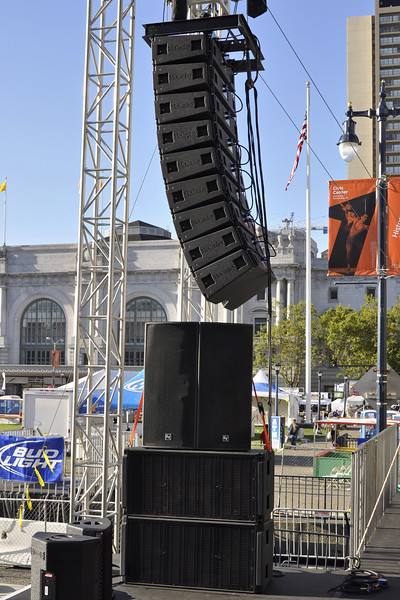 """San Francisco Pride 2012: Spider Ranch Productions provided McCauley Monarch line arrays, 9 cabinets per side. Sidefills consisted of EV cabinets stacked on 2 McCauley dual 18"""" subs."""