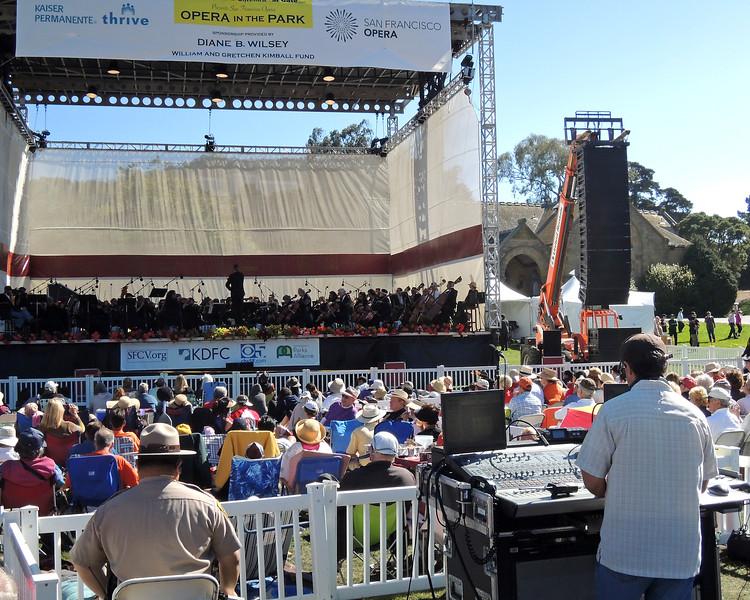 SAN FRANCISCO OPERA IN THE PARK: Nat Koren, F.O.H. engineer for San Francisco Opera, mixes Opera in the Park at Sharon Meadows in Golden Gate Park on September 9, 2012.