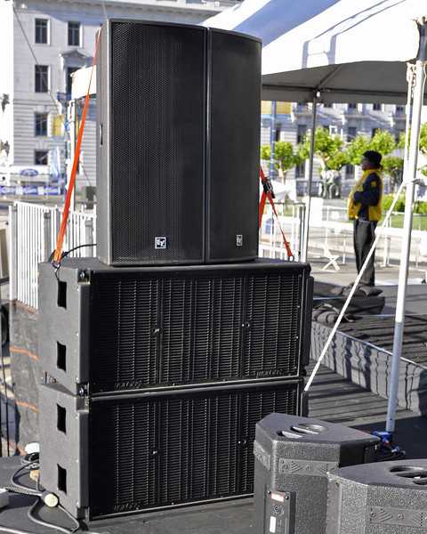 "San Francisco Pride 2012:  Sidefills consisted of EV cabinets stacked on 2 McCauley dual 18"" subs. System supplied by Spider Ranch Productions."