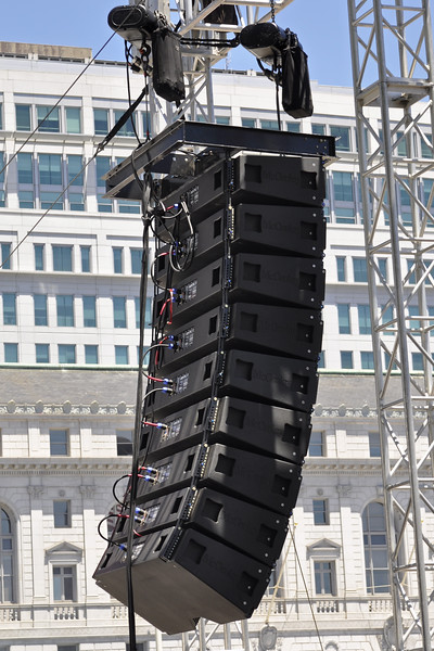 San Francisco Pride 2012: Spider Ranch Productions provided McCauley Monarch line arrays, 9 cabinets per side.