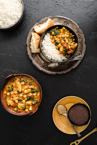 Chickpea Stew with Cauliflower & Spinach in a mustard Sauce