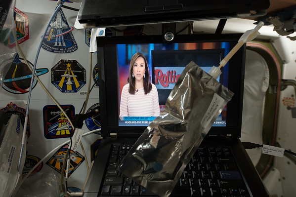 Morning @space_station with my coffee and news from Earth with @KHOU News Houston and @KHOULily Lily Jang.