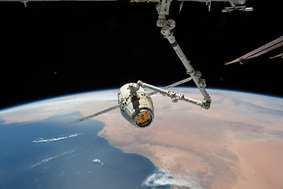 SpaceX Dragon with North Africa in background