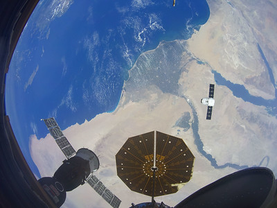 SpaceX Dragon CRS-15 over the Nile Delta