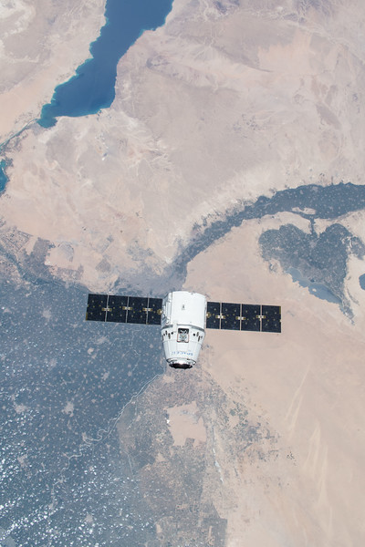 SpaceX Dragon over Nile River Delta, Egypt