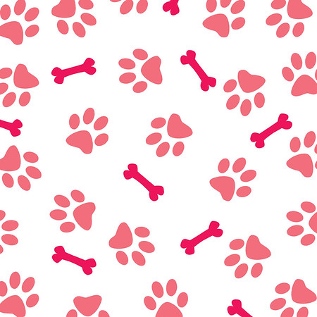 Pink Dog Paw Pattern