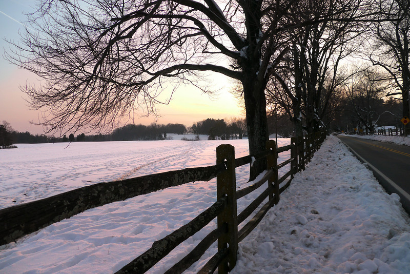 Sunset over snow-covered farm field in Montgomery County Agricultural Reserve<br /> Barnesville, MD