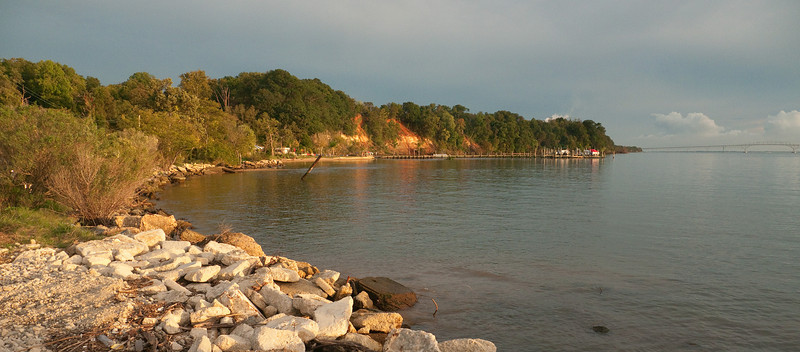 Potomac River shoreline at Popes Creek near sunset<br /> Newburg, MD