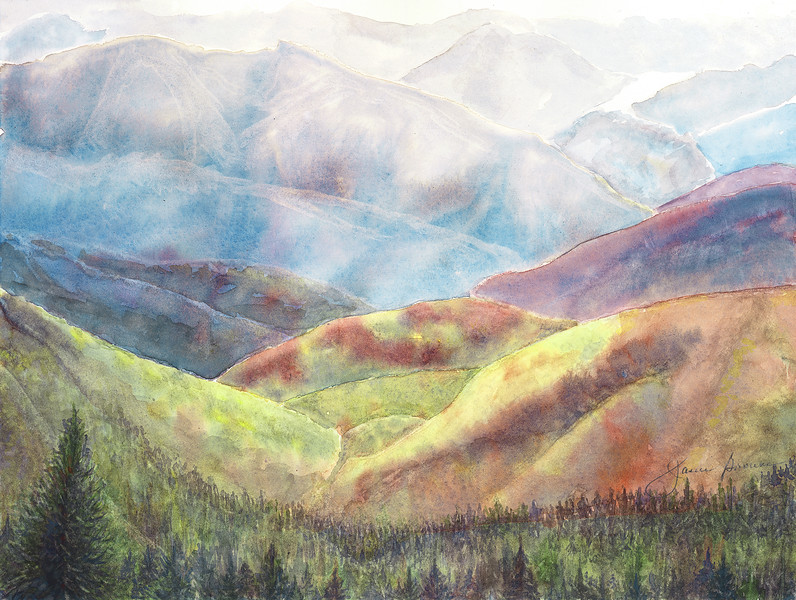 "<i>Appalachian Landscape</i>  (2015) Watercolor - 8.5"" x 11"""