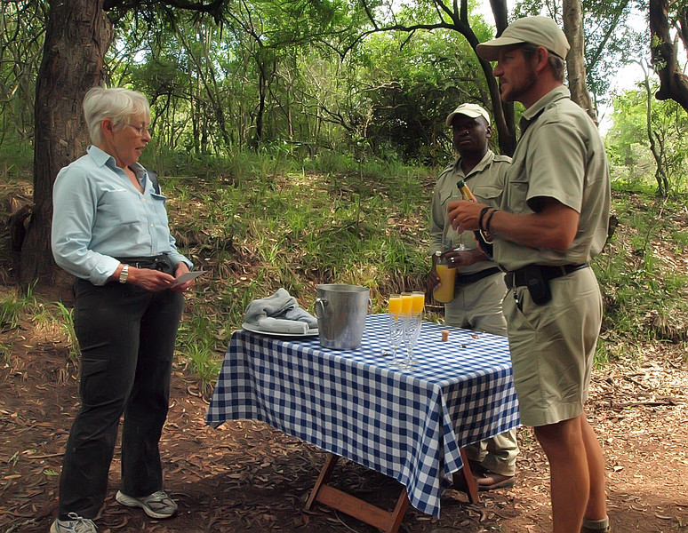 A little champagne in your OJ ??, Breakfast in the bush at Phinda Zuka Lodge