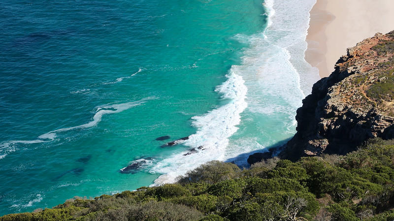 Turquoise waters along the Cape Point Nature Reserve.