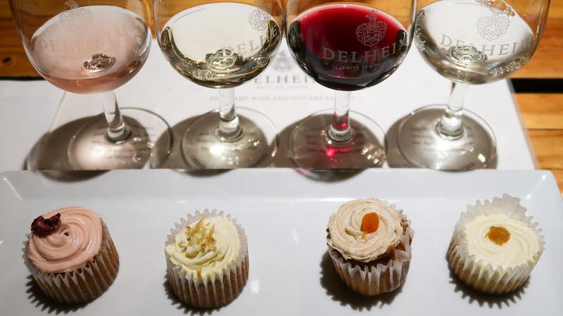 Wine and cupcake tasting at Delheim in Stellenbosch, South Africa.