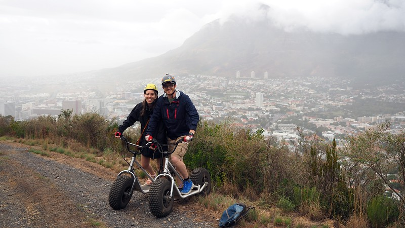 Riding scooters down Signal Hill on a foggy day