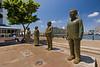 Statues of South Africa's Nobel Peace Prize winners, from left: Albert Luthuli, Desmond Tutu, F. W. de Klerk, and Nelson Mandela.