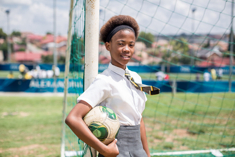 Thandeka, GRS participant, Alexandra, South Africa; shot at FIFA Football for Hope Centre, November 2016; photo by Karin Schermbrucker, Slingshot Media