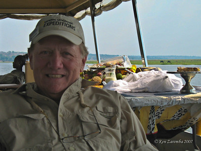 Kicking back on the Chobe delta river cruise. Check out all that food behind me.