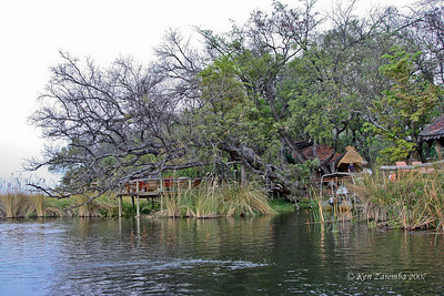 View of Xakanaxa Camp structures from the water