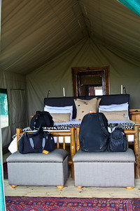 The bedroom of our tented safari camp at Xakanaxa