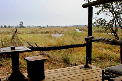 View of the Okavango Delta and Moremi Game reserve from our Xanakaxa camp tented site.