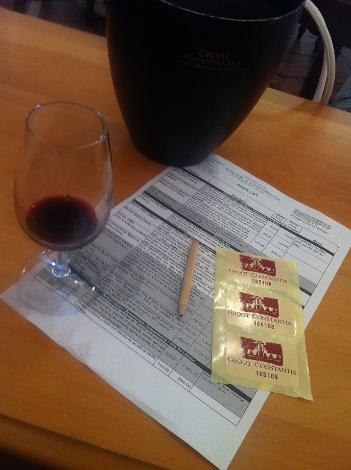 Groot Constantia Vineyard Wine Tasting List