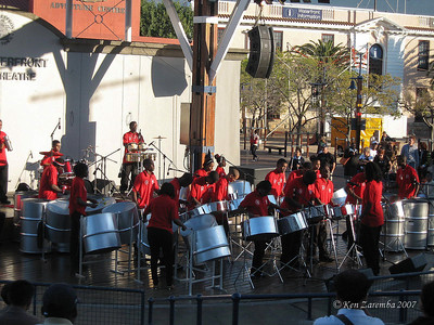 Local school bands competing at a local plaza in a shopping center near the Cape Grace Hotel