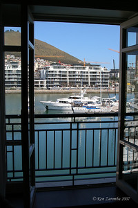 View of the Cape Town harbor from our room in the Cape grace Hotel
