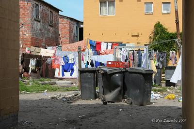 Area around old apartment buildings in Langa