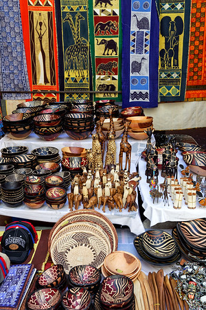 African curios on sale in St Georges Mall street market, Cape Town