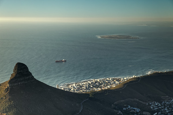 View over Lion's Head, Signal Hill and Sea Point to Robben Island from Table Mountain