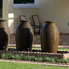 Fountain based on giant water urns at Honeylocust Lodge, Colesberg, South Africa.