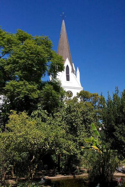 The tower of the Moederkerk, the Dutch Reformed mother church in Stellenbosch.
