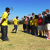 Marathoners and Northfield Mt Harmon School (US) Visit, Find the Ball Activity, 2 April 2013, Alexandra, South Africa