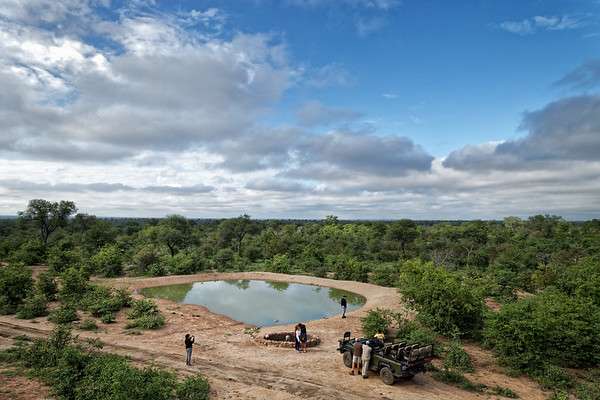 Sunrise game drive coffee break, viewed from an observation platform