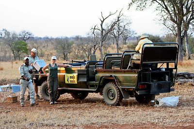 "Graham,Our Mala Mala Main Camp Guide, wrapping up Sundowner time  on Our National Geographic Expeditions ""South Africa by Private Air"" expedition."