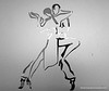 Etching in glass of two dancers at a dance studio at Brightwater Commons, Randburg, Johannesburg, South Africa in February 2015