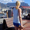 Blonde woman at the Waterfront in Cape Town, South Africa in February 2015