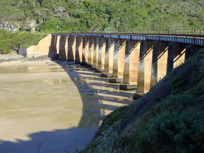 Abandoned train bridge between Wilderness and Victoria Bay