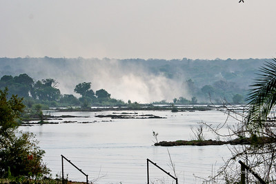 The near by Vicoria Falls, the smoke-that-thunders from the Royal Livingstone Hotel