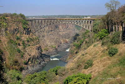 Bridge over the Zambezi below Victoria Falls. Yellow marks the Zimbabwe side, the other half is in Zambia