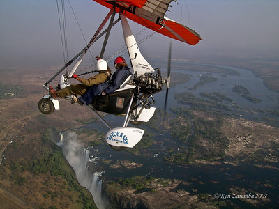 Susan on a microlight flight over Victoria Falls. A MUST DO activity.