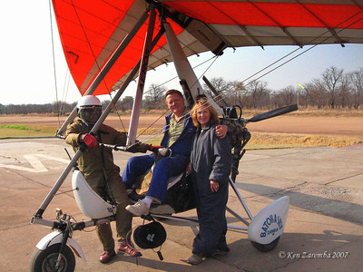 In our flight suits with the pilot, after our microlight flights over Victoria Falls