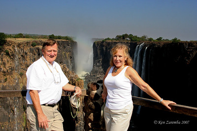 Posing with Victoria Falls in the background