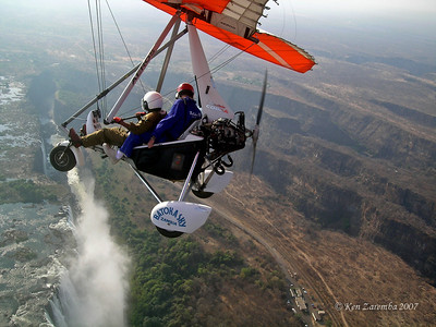 Ken on a microlight flight over Victoria Falls. A MUST DO activity.